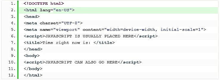 HTML Sayfasına JavaScript Kodları Ekleme